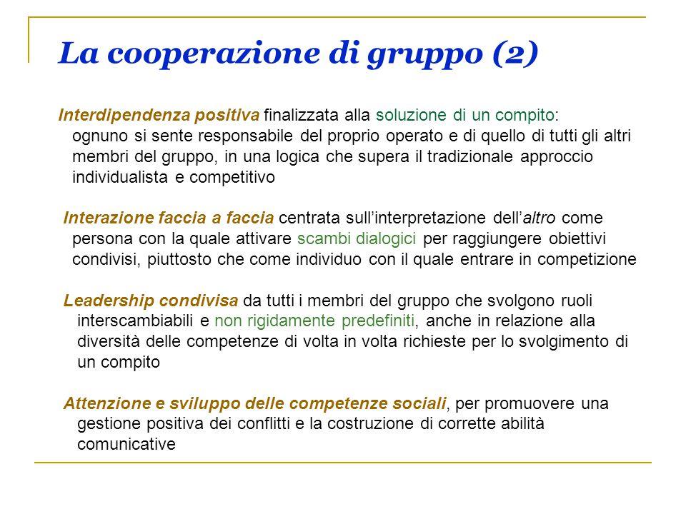 La cooperazione di gruppo (2) Interdipendenza positiva finalizzata alla soluzione di un compito: ognuno si sente responsabile del proprio operato e di
