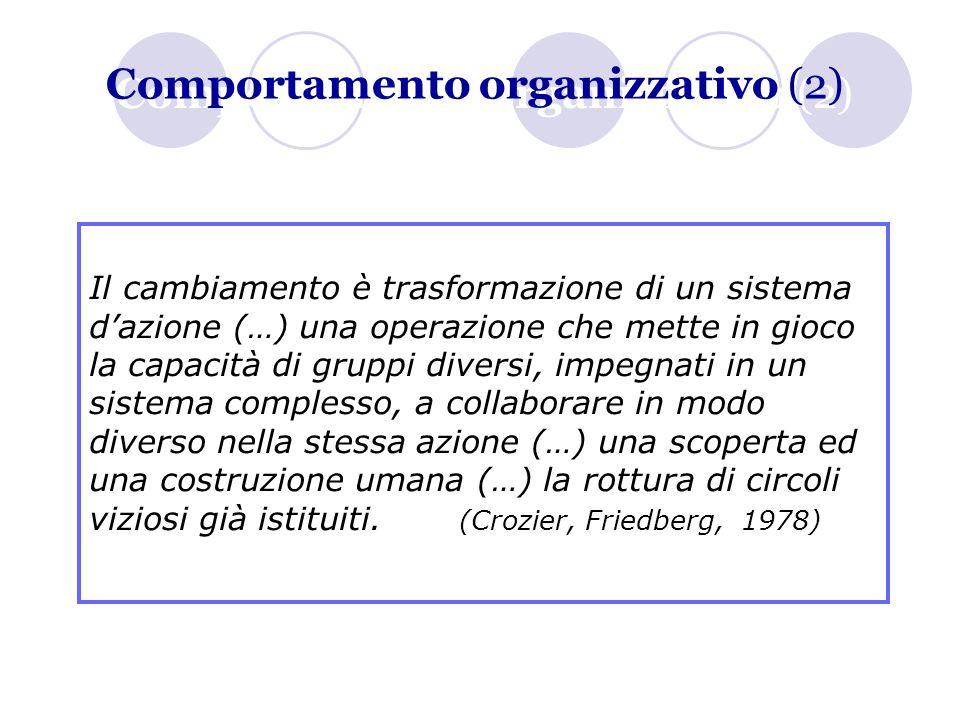 Comportamento organizzativo (2) Il cambiamento è trasformazione di un sistema d'azione (…) una operazione che mette in gioco la capacità di gruppi div