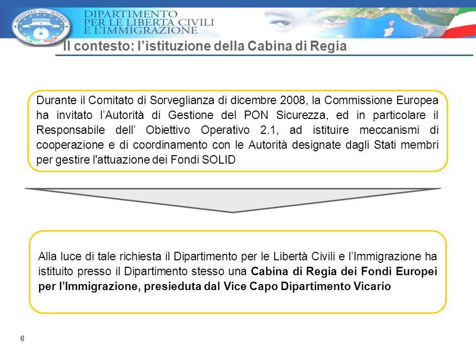 6 Il contesto: l'istituzione della Cabina di Regia Durante il Comitato di Sorveglianza di dicembre 2008, la Commissione Europea ha invitato l'Autorità di Gestione del PON Sicurezza, ed in particolare il Responsabile dell' Obiettivo Operativo 2.1, ad istituire meccanismi di cooperazione e di coordinamento con le Autorità designate dagli Stati membri per gestire l attuazione dei Fondi SOLID Alla luce di tale richiesta il Dipartimento per le Libertà Civili e l'Immigrazione ha istituito presso il Dipartimento stesso una Cabina di Regia dei Fondi Europei per l'Immigrazione, presieduta dal Vice Capo Dipartimento Vicario