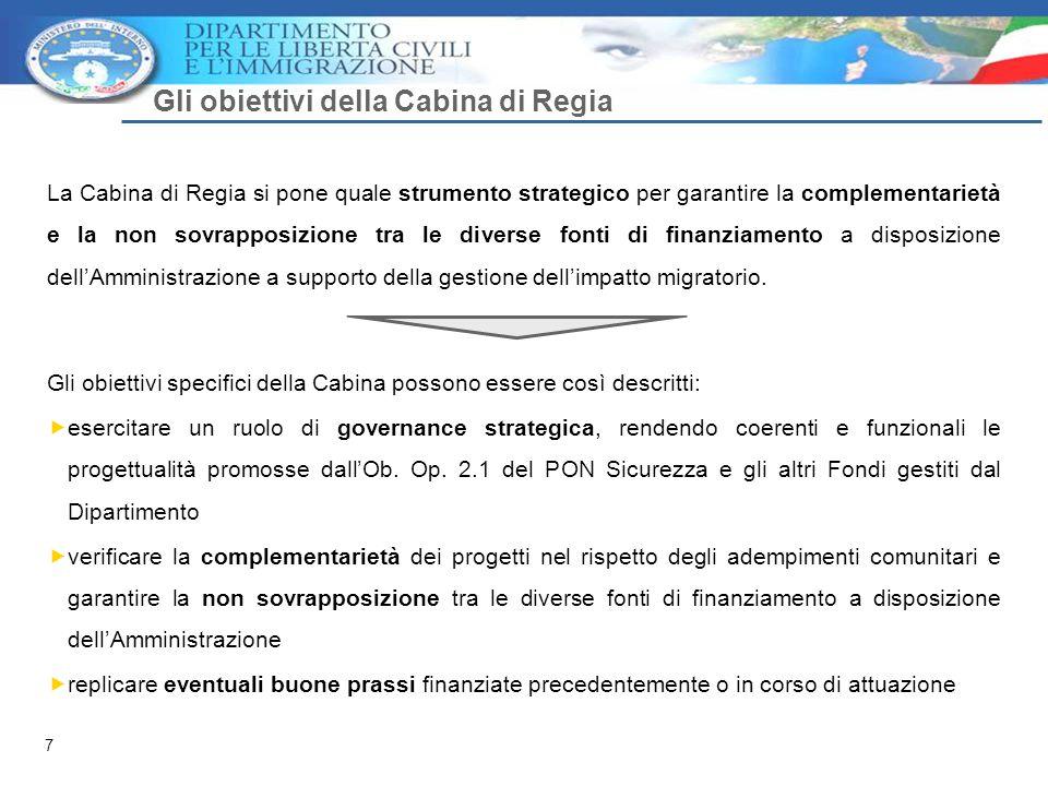 7 Gli obiettivi della Cabina di Regia La Cabina di Regia si pone quale strumento strategico per garantire la complementarietà e la non sovrapposizione tra le diverse fonti di finanziamento a disposizione dell'Amministrazione a supporto della gestione dell'impatto migratorio.