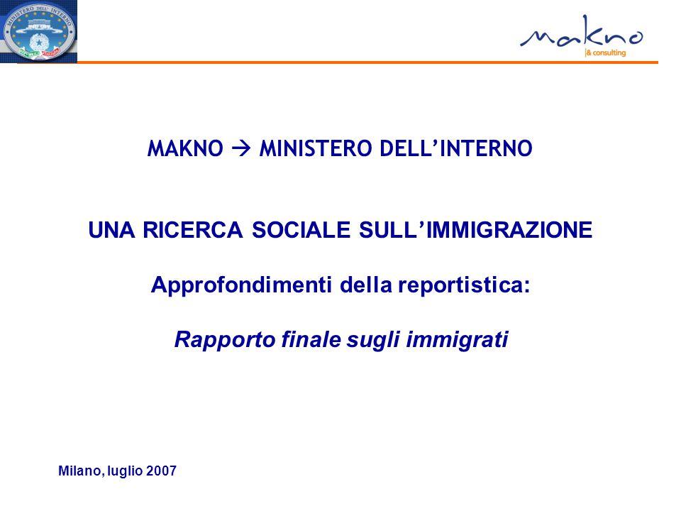 Milano, luglio 2007 MAKNO  MINISTERO DELL'INTERNO UNA RICERCA SOCIALE SULL ' IMMIGRAZIONE Approfondimenti della reportistica: Rapporto finale sugli i