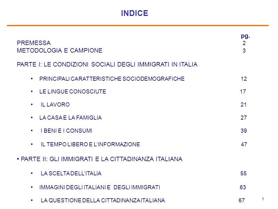 1 INDICE pg. PREMESSA 2 METODOLOGIA E CAMPIONE 3 PARTE I: LE CONDIZIONI SOCIALI DEGLI IMMIGRATI IN ITALIA PRINCIPALI CARATTERISTICHE SOCIODEMOGRAFICHE
