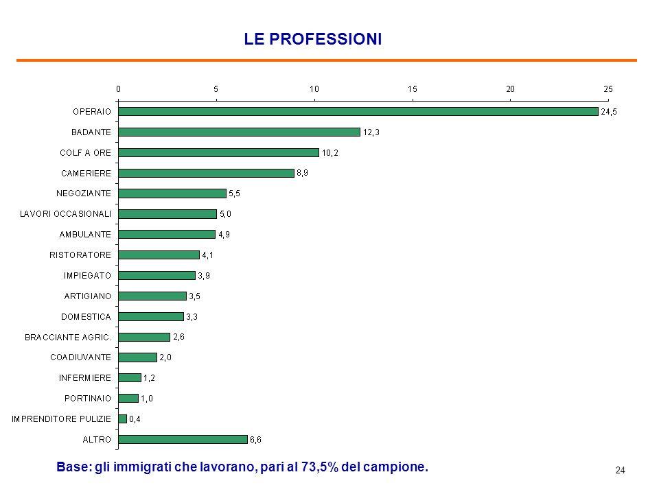 24 LE PROFESSIONI Base: gli immigrati che lavorano, pari al 73,5% del campione.