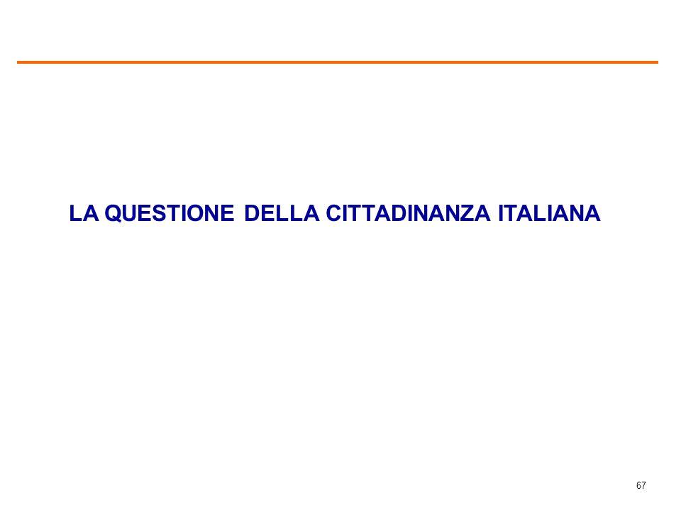 67 LA QUESTIONE DELLA CITTADINANZA ITALIANA