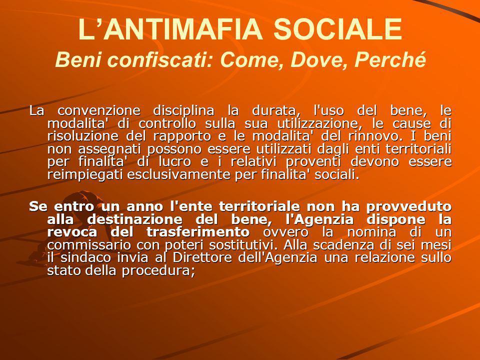 L'ANTIMAFIA SOCIALE Beni confiscati: Come, Dove, Perché La convenzione disciplina la durata, l'uso del bene, le modalita' di controllo sulla sua utili