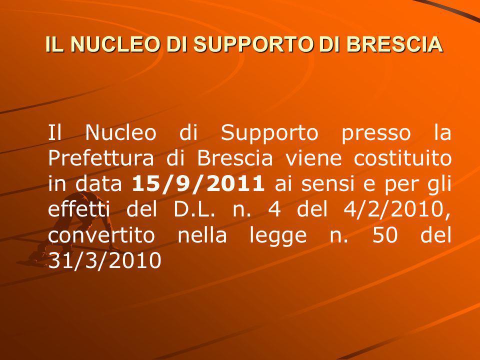 IL NUCLEO DI SUPPORTO DI BRESCIA Il Nucleo di Supporto presso la Prefettura di Brescia viene costituito in data 15/9/2011 ai sensi e per gli effetti del D.L.
