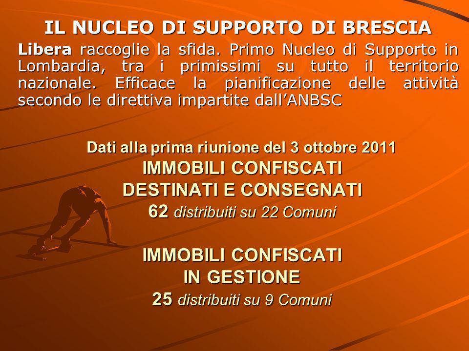 Dati alla prima riunione del 3 ottobre 2011 IMMOBILI CONFISCATI DESTINATI E CONSEGNATI 62 distribuiti su 22 Comuni IMMOBILI CONFISCATI IN GESTIONE 25