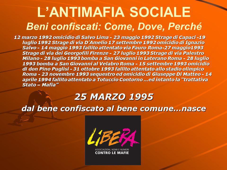 L'ANTIMAFIA SOCIALE Beni confiscati: Come, Dove, Perché 12 marzo 1992 omicidio di Salvo Lima - 23 maggio 1992 Strage di Capaci -19 luglio 1992 Strage