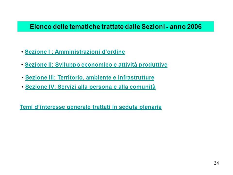 34 Elenco delle tematiche trattate dalle Sezioni - anno 2006 Sezione I : Amministrazioni d'ordine Sezione II: Sviluppo economico e attività produttive Sezione III: Territorio, ambiente e infrastrutture Sezione IV: Servizi alla persona e alla comunità Temi d'interesse generale trattati in seduta plenaria