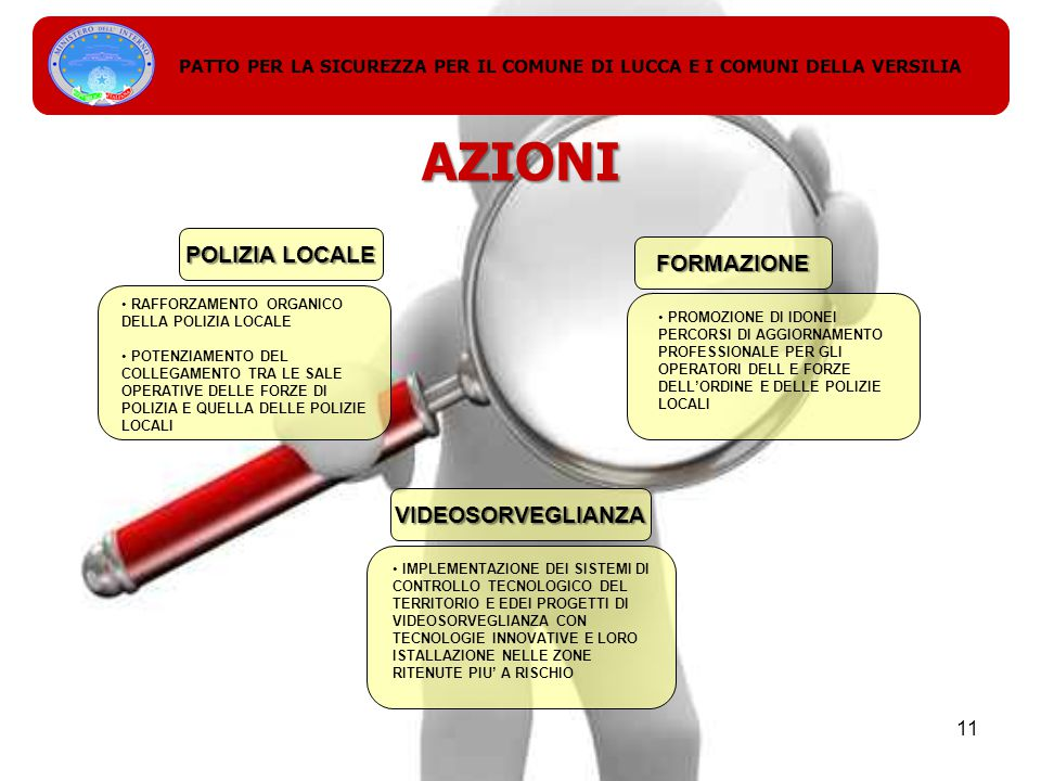 AZIONI POLIZIA LOCALE RAFFORZAMENTO ORGANICO DELLA POLIZIA LOCALE POTENZIAMENTO DEL COLLEGAMENTO TRA LE SALE OPERATIVE DELLE FORZE DI POLIZIA E QUELLA DELLE POLIZIE LOCALI FORMAZIONE PROMOZIONE DI IDONEI PERCORSI DI AGGIORNAMENTO PROFESSIONALE PER GLI OPERATORI DELL E FORZE DELL'ORDINE E DELLE POLIZIE LOCALI PATTO PER LA SICUREZZA PER IL COMUNE DI LUCCA E I COMUNI DELLA VERSILIA 11 VIDEOSORVEGLIANZA IMPLEMENTAZIONE DEI SISTEMI DI CONTROLLO TECNOLOGICO DEL TERRITORIO E EDEI PROGETTI DI VIDEOSORVEGLIANZA CON TECNOLOGIE INNOVATIVE E LORO ISTALLAZIONE NELLE ZONE RITENUTE PIU' A RISCHIO