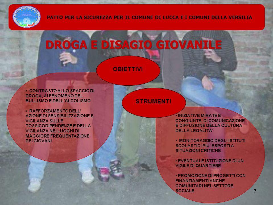 PATTO PER LA SICUREZZA PER IL COMUNE DI LUCCA E I COMUNI DELLA VERSILIA DROGA E DISAGIO GIOVANILE CONTRASTO ALLO SPACCIO DI DROGA, AI FENOMENO DEL BULLISMO E DELL'ALCOLISMO RAFFORZAMENTO DELL' AZIONE DI SENSIBILIZZAZIONE E VIGILANZA SULLE TOSSICODIPENDENZE E DELLA VIGILANZA NEI LUOGHI DI MAGGIORE FREQUENTAZIONE DEI GIOVANI INIZIATIVE MIRATE E CONGIUNTE, DI COMUNICAZIONE E DIFFUSIONE DELLA CULTURA DELLA LEGALITA' MONITORAGGIO DEGLI ISTITUTI SCOLASTICI PIU' ESPOSTI A SITUAZIONI CRITICHE EVENTUALE ISTITUZIONE DI UN VIGILE DI QUARTIERE PROMOZIONE DI PROGETTI CON FINANZIAMENTI ANCHE COMUNITARI NEL SETTORE SOCIALE OBIETTIVI STRUMENTI 7
