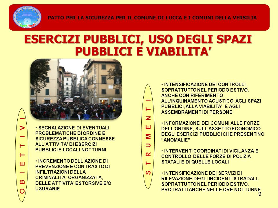 SEGNALAZIONE DI EVENTUALI PROBLEMATICHE DI ORDINE E SICUREZZA PUBBLICA CONNESSE ALL'ATTIVITA' DI ESERCIZI PUBBLICI E LOCALI NOTTURNI INCREMENTO DELL'AZIONE DI PREVENZIONE E CONTRASTO DI INFILTRAZIONI DELLA CRIMINALITA' ORGANIZZATA, DELLE ATTIVITA' ESTORSIVE E/O USURARIE PATTO PER LA SICUREZZA PER IL COMUNE DI LUCCA E I COMUNI DELLA VERSILIA ESERCIZI PUBBLICI, USO DEGLI SPAZI PUBBLICI E VIABILITA' INTENSIFICAZIONE DEI CONTROLLI, SOPRATTUTTO NEL PERIODO ESTIVO, ANCHE CON RIFERIMENTO ALL'INQUINAMENTO ACUSTICO, AGLI SPAZI PUBBLICI, ALLA VIABILITA' E AGLI ASSEMBRAMENTI DI PERSONE INFORMAZIONE DEI COMUNI ALLE FORZE DELL'ORDINE, SULL'ASSETTO ECONOMICO DEGLI ESERCIZI PUBBLICI CHE PRESENTINO ANOMALIE INTERVENTI COORDINATI DI VIGILANZA E CONTROLLO DELLE FORZE DI POLIZIA STATALI E DI QUELLE LOCALI INTENSIFICAZIONE DEI SERVIZI DI RILEVAZIONE DEGLI INCIDENTI STRADALI, SOPRATTUTTO NEL PERIODO ESTIVO, PROTRATTI ANCHE NELLE ORE NOTTURNE 9
