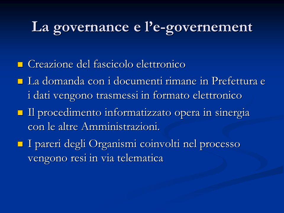La governance e l'e-governement Creazione del fascicolo elettronico Creazione del fascicolo elettronico La domanda con i documenti rimane in Prefettur