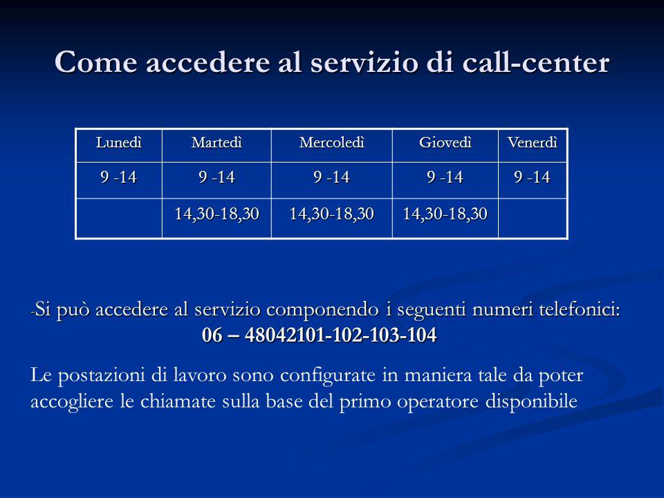 Come accedere al servizio di call-center LunedìMartedìMercoledìGiovedìVenerdì 9 -14 14,30-18,3014,30-18,3014,30-18,30 - Si può accedere al servizio co
