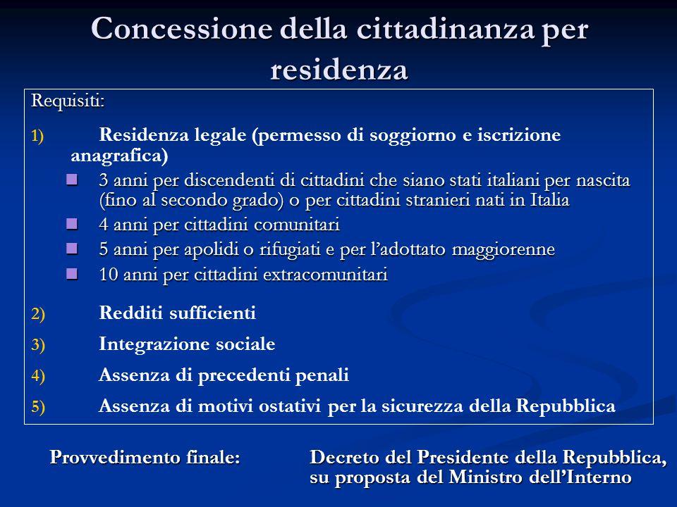 Concessione della cittadinanza per residenza Requisiti: 1) 1) Residenza legale (permesso di soggiorno e iscrizione anagrafica) 3 anni per discendenti
