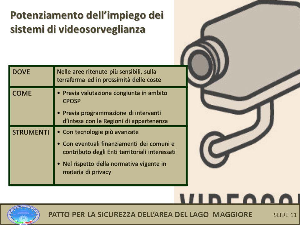 11 Potenziamento dell'impiego dei sistemi di videosorveglianza PATTO PER LA SICUREZZA DELL'AREA DEL LAGO MAGGIORE SLIDE 11