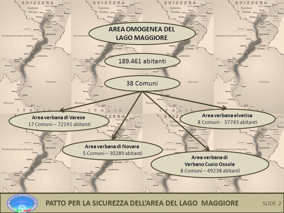 PATTO PER LA SICUREZZA DELL'AREA DEL LAGO MAGGIORE SLIDE 2 AREA OMOGENEA DEL LAGO MAGGIORE 189.461 abitanti 38 Comuni Area verbana di Varese 17 Comuni