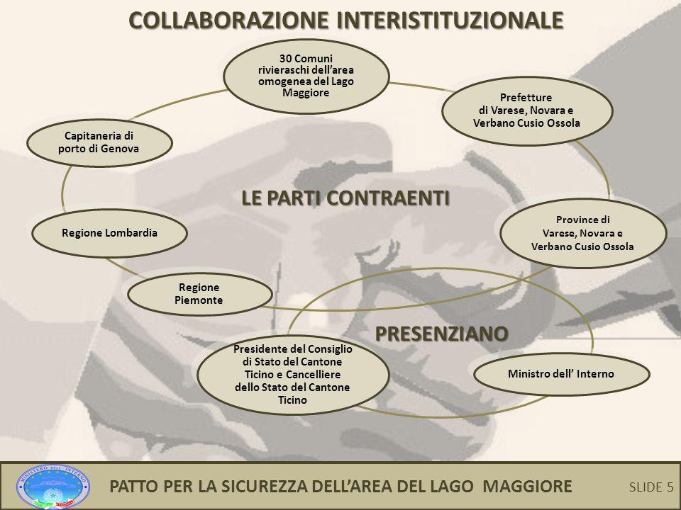 5 COLLABORAZIONE INTERISTITUZIONALE LE PARTI CONTRAENTI PRESENZIANO Prefetture di Varese, Novara e Verbano Cusio Ossola Prefetture di Varese, Novara e