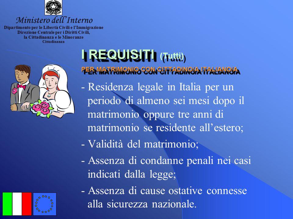 I REQUISITI PER NASCITA SUL TERRITORIO ITALIANO I REQUISITI PER NASCITA SUL TERRITORIO ITALIANO - Risiedendo legalmente ed ininterrottamente dalla nas