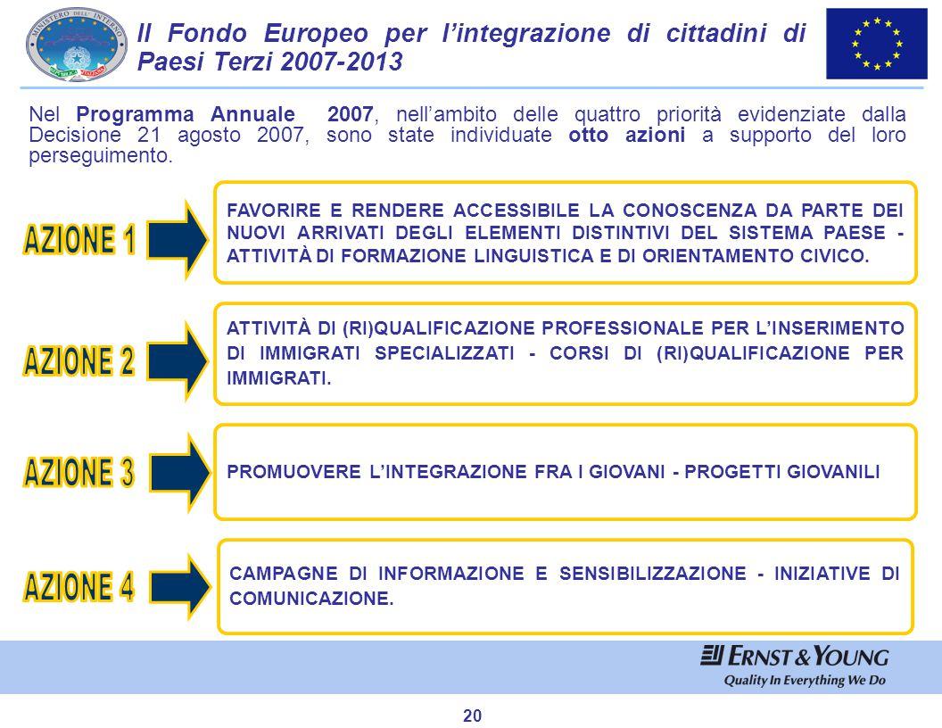 20 Nel Programma Annuale 2007, nell'ambito delle quattro priorità evidenziate dalla Decisione 21 agosto 2007, sono state individuate otto azioni a sup