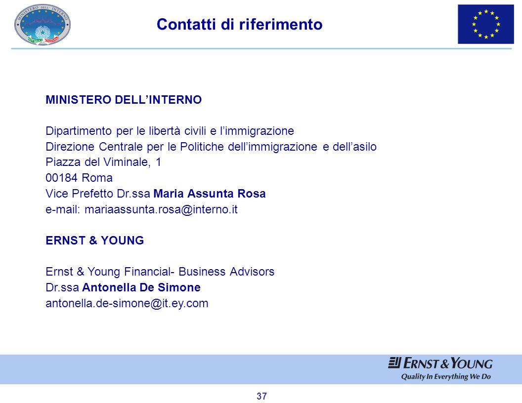 37 Contatti di riferimento MINISTERO DELL'INTERNO Dipartimento per le libertà civili e l'immigrazione Direzione Centrale per le Politiche dell'immigra