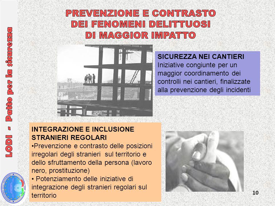 10 SICUREZZA NEI CANTIERI Iniziative congiunte per un maggior coordinamento dei controlli nei cantieri, finalizzate alla prevenzione degli incidenti I