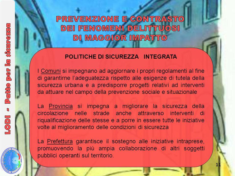 11 POLITICHE DI SICUREZZA INTEGRATA I Comuni si impegnano ad aggiornare i propri regolamenti al fine di garantirne l'adeguatezza rispetto alle esigenz