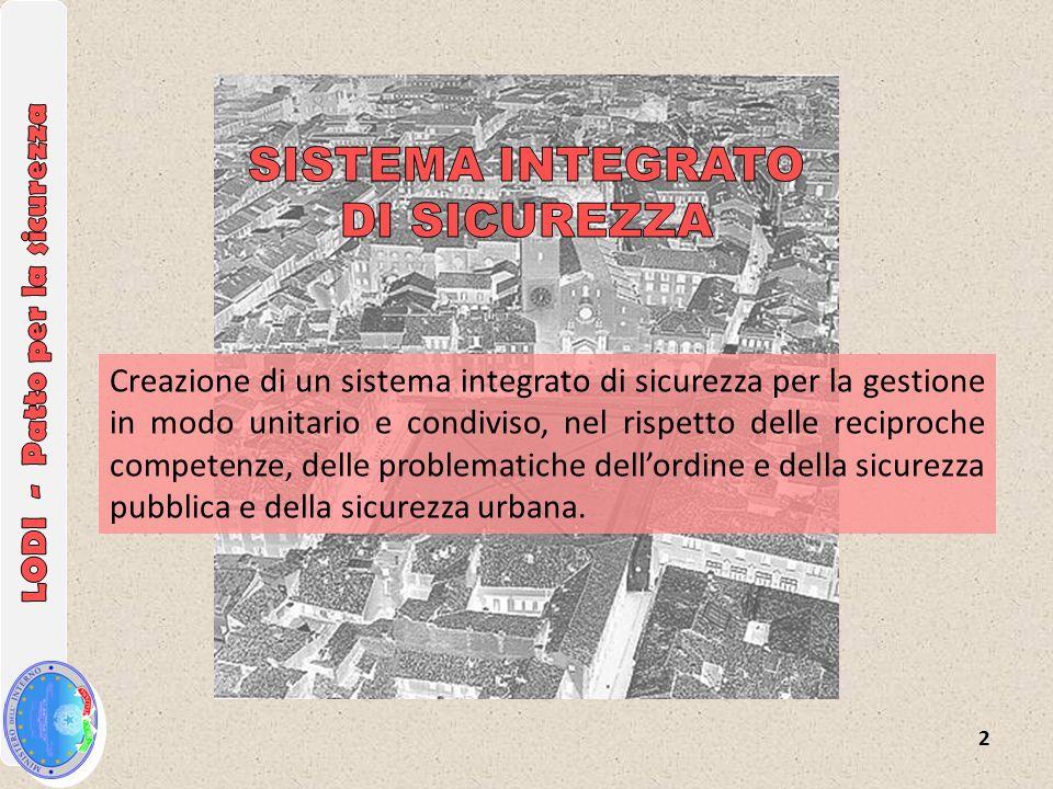2 Creazione di un sistema integrato di sicurezza per la gestione in modo unitario e condiviso, nel rispetto delle reciproche competenze, delle problematiche dell'ordine e della sicurezza pubblica e della sicurezza urbana.