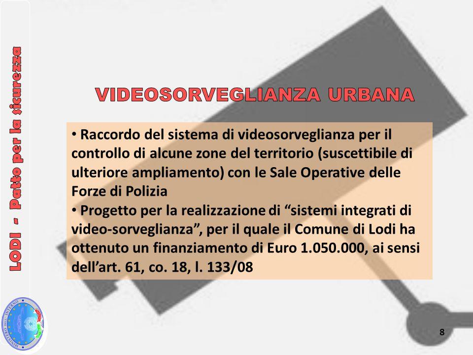 Raccordo del sistema di videosorveglianza per il controllo di alcune zone del territorio (suscettibile di ulteriore ampliamento) con le Sale Operative