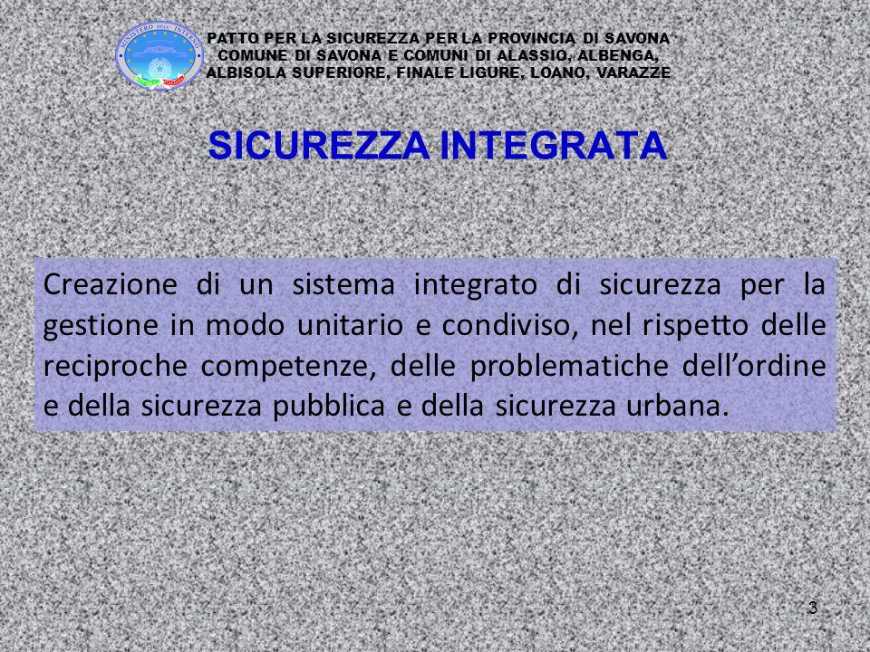 3 Creazione di un sistema integrato di sicurezza per la gestione in modo unitario e condiviso, nel rispetto delle reciproche competenze, delle problematiche dell'ordine e della sicurezza pubblica e della sicurezza urbana.