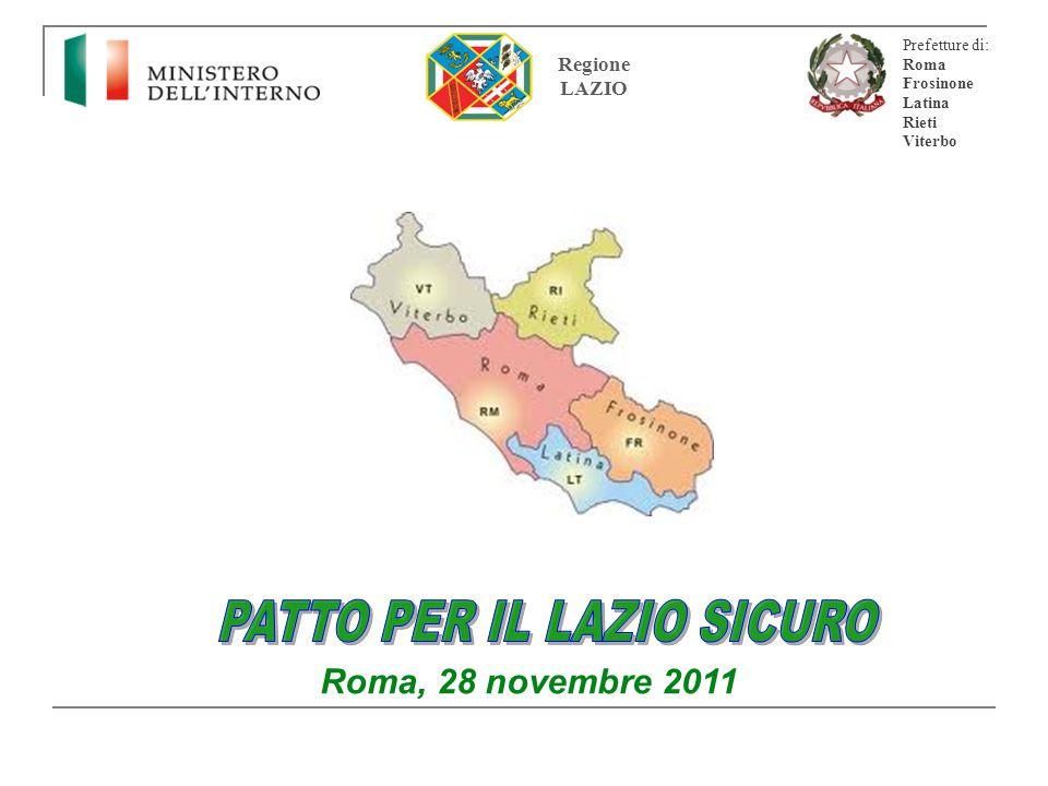2 Regione Lazio alla presenza del Ministro dell'Interno LE PARTI CONTRAENTI Prefettura di Roma Prefettura di Frosinone Prefettura di Latina Prefettura di Rieti Prefettura di Viterbo PATTO PER IL LAZIO SICURO