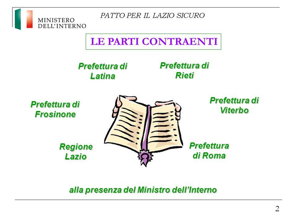 2 Regione Lazio alla presenza del Ministro dell'Interno LE PARTI CONTRAENTI Prefettura di Roma Prefettura di Frosinone Prefettura di Latina Prefettura