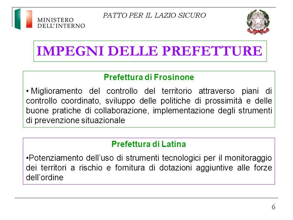 6 IMPEGNI DELLE PREFETTURE Prefettura di Frosinone Miglioramento del controllo del territorio attraverso piani di controllo coordinato, sviluppo delle