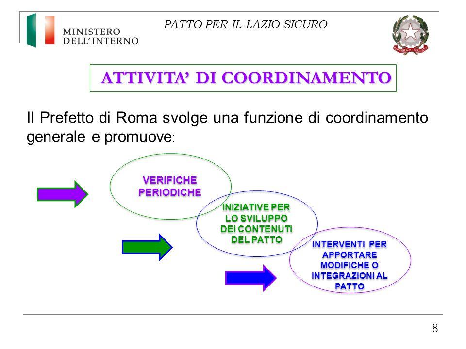8 VERIFICHE PERIODICHE ATTIVITA' DI COORDINAMENTO Il Prefetto di Roma svolge una funzione di coordinamento generale e promuove : INIZIATIVE PER LO SVILUPPO DEI CONTENUTI DEL PATTO INTERVENTI PER APPORTARE MODIFICHE O INTEGRAZIONI AL PATTO PATTO PER IL LAZIO SICURO