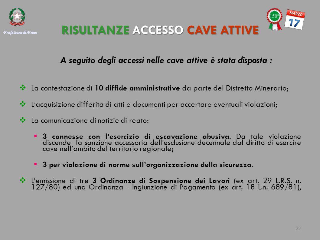 RISULTANZE ACCESSO CAVE ATTIVE A seguito degli accessi nelle cave attive è stata disposta :  La contestazione di 10 diffide amministrative da parte d