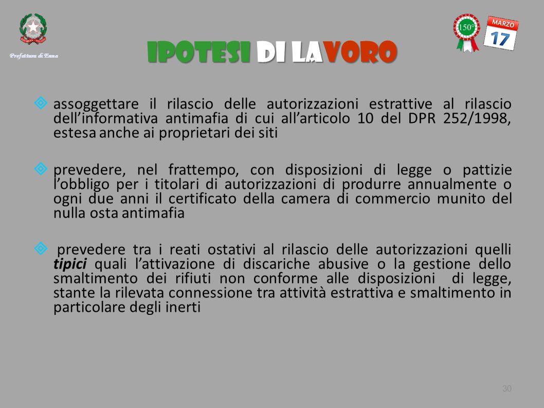 IPOTESI DI LAVORO  assoggettare il rilascio delle autorizzazioni estrattive al rilascio dell'informativa antimafia di cui all'articolo 10 del DPR 252