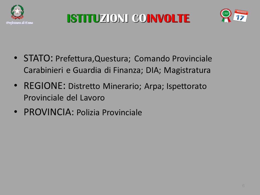 ISTITUZIONI COINVOLTE ISTITUZIONI COINVOLTE STATO : Prefettura,Questura; Comando Provinciale Carabinieri e Guardia di Finanza; DIA; Magistratura REGIO