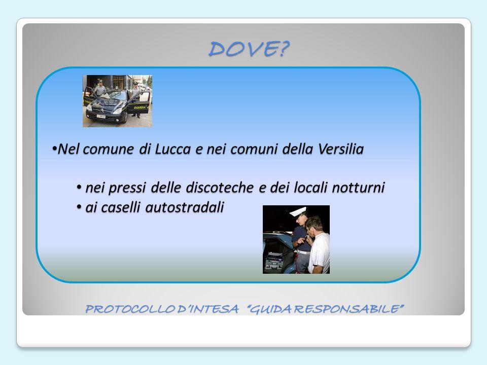 """PROTOCOLLO D'INTESA """"GUIDA RESPONSABILE"""" DOVE? Nel comune di Lucca e nei comuni della Versilia Nel comune di Lucca e nei comuni della Versilia nei pre"""
