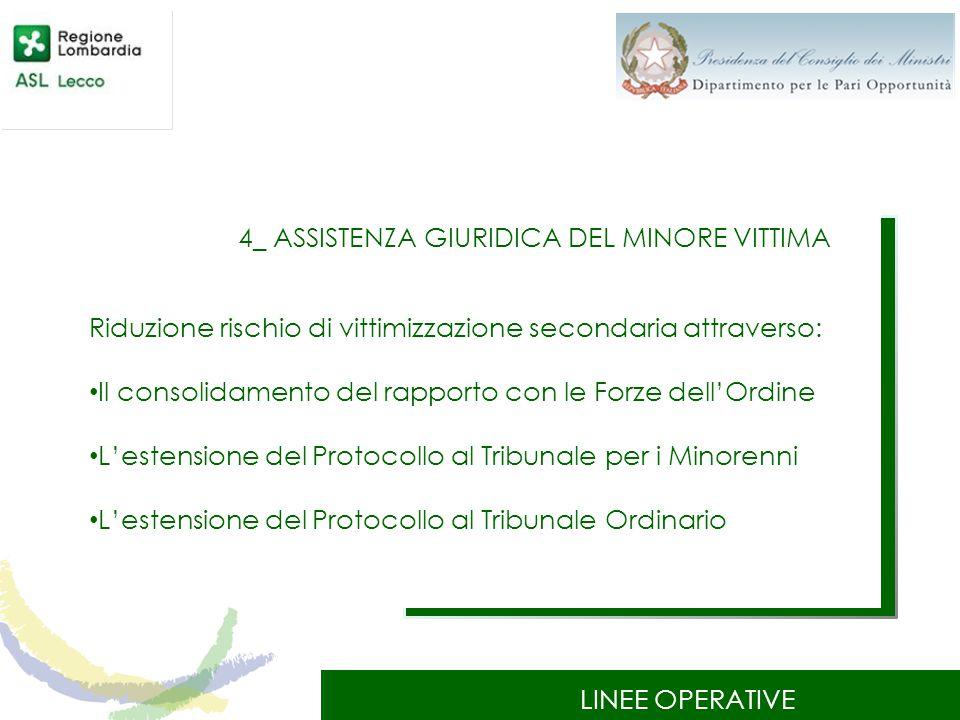 LINEE OPERATIVE 4_ ASSISTENZA GIURIDICA DEL MINORE VITTIMA Riduzione rischio di vittimizzazione secondaria attraverso: Il consolidamento del rapporto