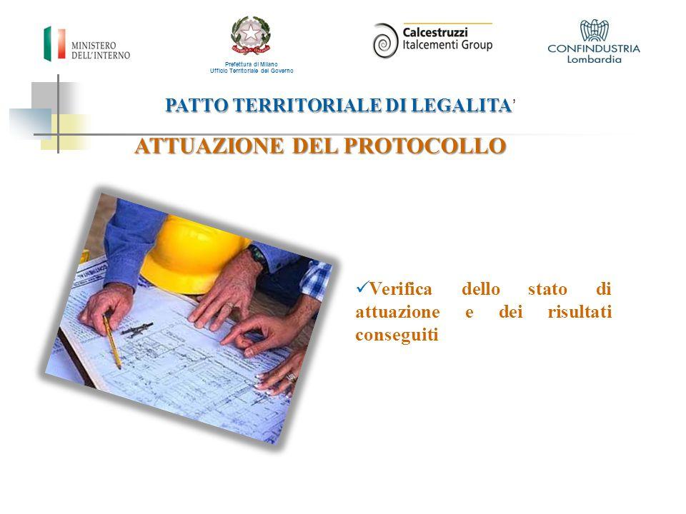 PATTO TERRITORIALE DI LEGALITA PATTO TERRITORIALE DI LEGALITA ' Prefettura di Milano Ufficio Territoriale del Governo ATTUAZIONE DEL PROTOCOLLO Verifi