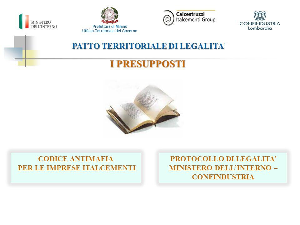 PATTO TERRITORIALE DI LEGALITA PATTO TERRITORIALE DI LEGALITA ' I PRESUPPOSTI Prefettura di Milano Ufficio Territoriale del Governo CODICE ANTIMAFIA P