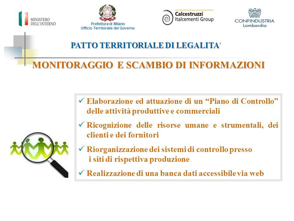 PATTO TERRITORIALE DI LEGALITA PATTO TERRITORIALE DI LEGALITA ' Prefettura di Milano Ufficio Territoriale del Governo COLLABORAZIONE CON ASSOCIAZIONI DI CATEGORIA E SINDACALI DI CATEGORIA E SINDACALI Attività di sensibilizzazione di Confindustria nei confronti degli associati Screening del personale, con procedure condivise con le organizzazioni sindacali Comunicazione di eventuali rischi di infiltrazione criminale da parte delle Organizzazioni Sindacali Impegno di Italcementi a supportare, anche legalmente, il personale dipendente che segnala pressioni di natura criminale