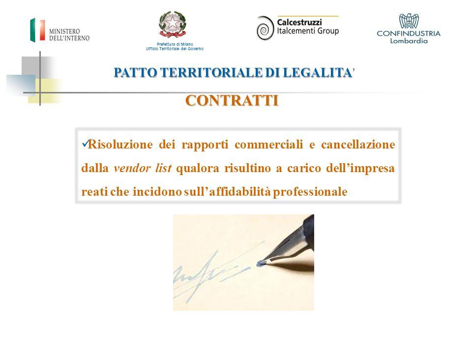 PATTO TERRITORIALE DI LEGALITA PATTO TERRITORIALE DI LEGALITA ' Prefettura di Milano Ufficio Territoriale del Governo CONTRATTI Risoluzione dei rappor