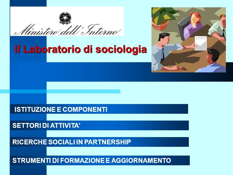 Il Laboratorio di sociologia ISTITUZIONE E COMPONENTI SETTORI DI ATTIVITA' RICERCHE SOCIALI IN PARTNERSHIP STRUMENTI DI FORMAZIONE E AGGIORNAMENTO