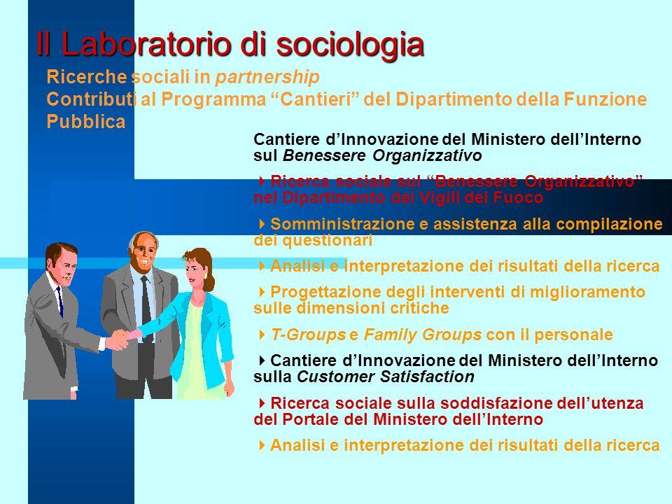 """Il Laboratorio di sociologia Ricerche sociali in partnership Contributi al Programma """"Cantieri"""" del Dipartimento della Funzione Pubblica Cantiere d'In"""