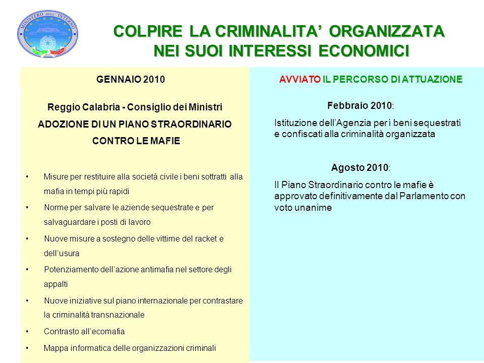 COLPIRE LA CRIMINALITA' ORGANIZZATA NEI SUOI INTERESSI ECONOMICI Febbraio 2010: Istituzione dell'Agenzia per i beni sequestrati e confiscati alla crim