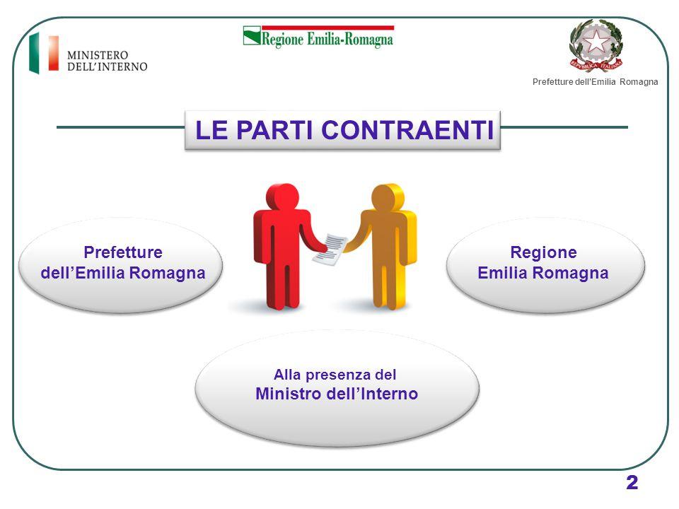 LE PARTI CONTRAENTI 2 Prefetture dell'Emilia Romagna Regione Emilia Romagna Alla presenza del Ministro dell'Interno Prefetture dell'Emilia Romagna