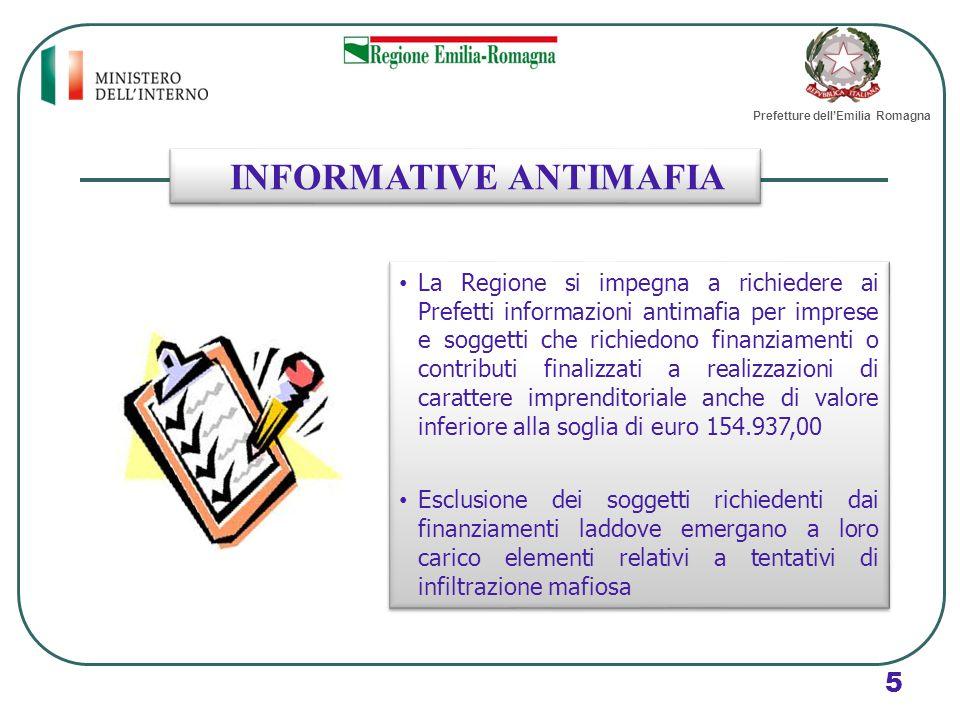 INFORMATIVE ANTIMAFIA La Regione si impegna a richiedere ai Prefetti informazioni antimafia per imprese e soggetti che richiedono finanziamenti o cont