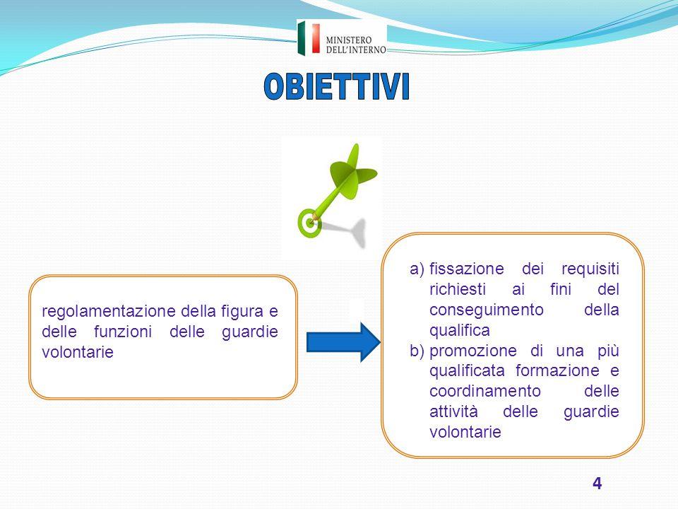4 regolamentazione della figura e delle funzioni delle guardie volontarie a)fissazione dei requisiti richiesti ai fini del conseguimento della qualifi