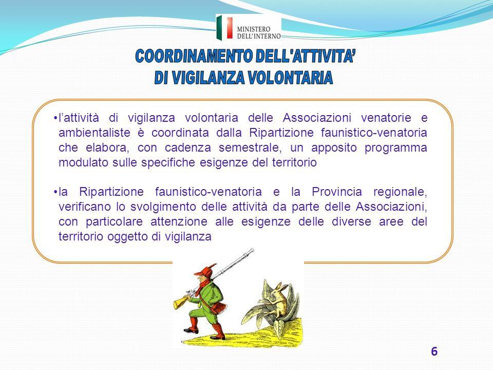 6 l'attività di vigilanza volontaria delle Associazioni venatorie e ambientaliste è coordinata dalla Ripartizione faunistico-venatoria che elabora, co